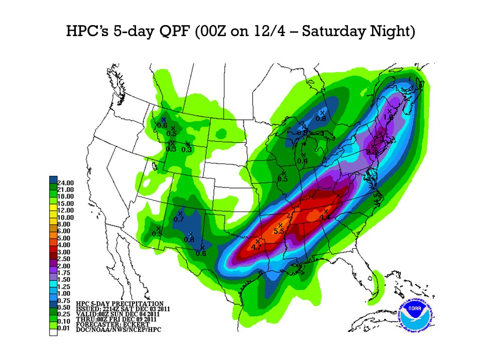 HPCs 5-day QPF (00Z on 12/4 – Saturday Night)