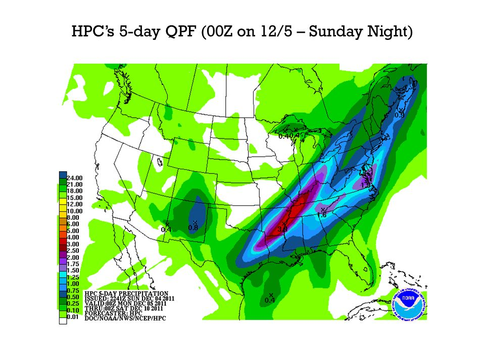 HPCs 5-day QPF (00Z on 12/5 – Sunday Night)
