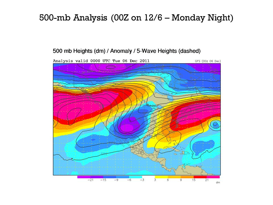 500-mb Analysis (00Z on 12/6 – Monday Night)