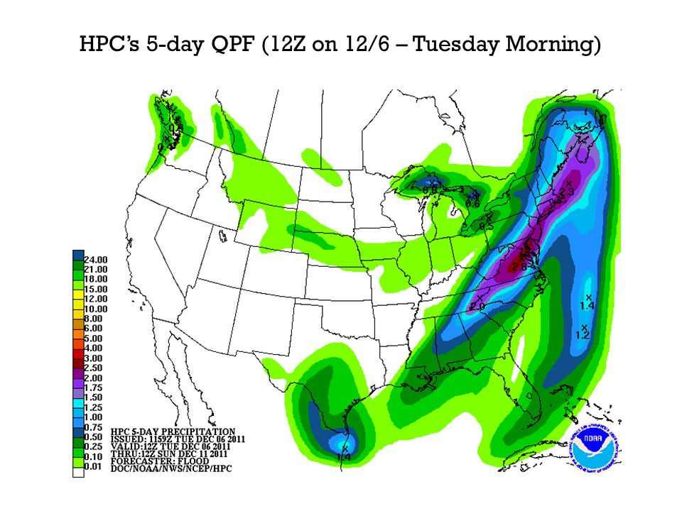 HPCs 5-day QPF (12Z on 12/6 – Tuesday Morning)