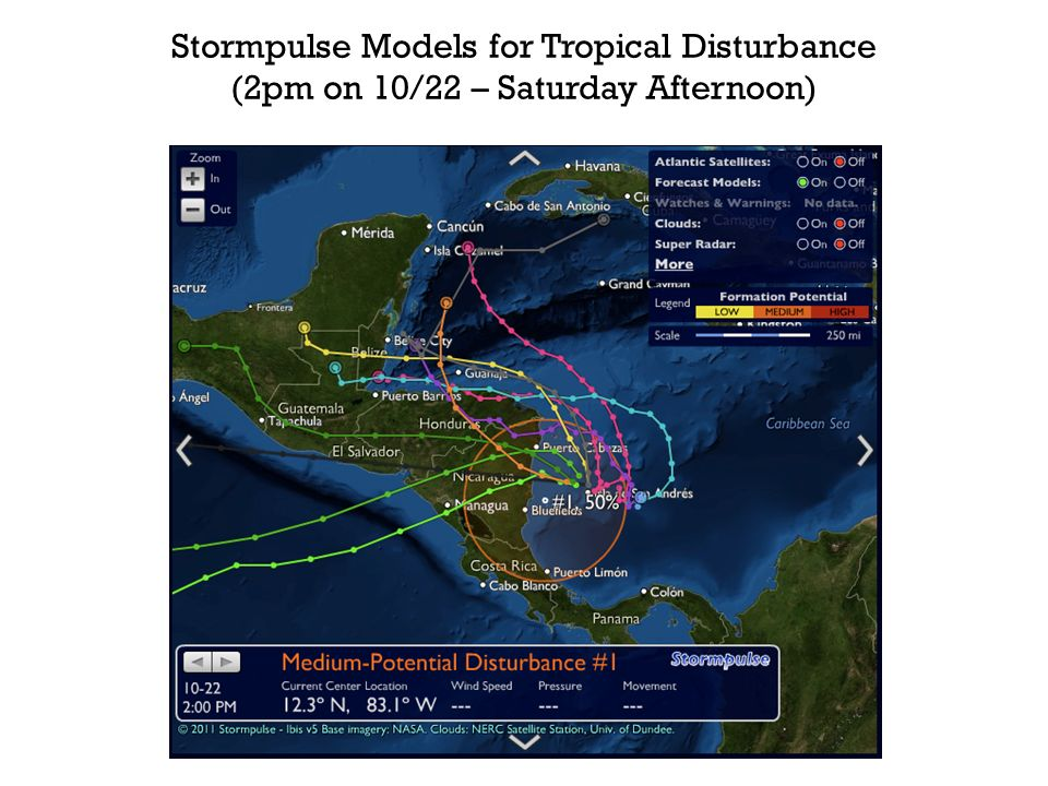 Stormpulse Models for Tropical Disturbance (2pm on 10/22 – Saturday Afternoon)