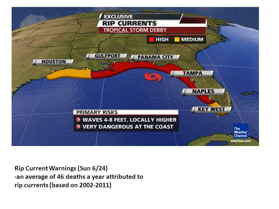 Rip Current Warnings (Sun 6/24) -an average of 46 deaths a year attributed to rip currents (based on 2002-2011)
