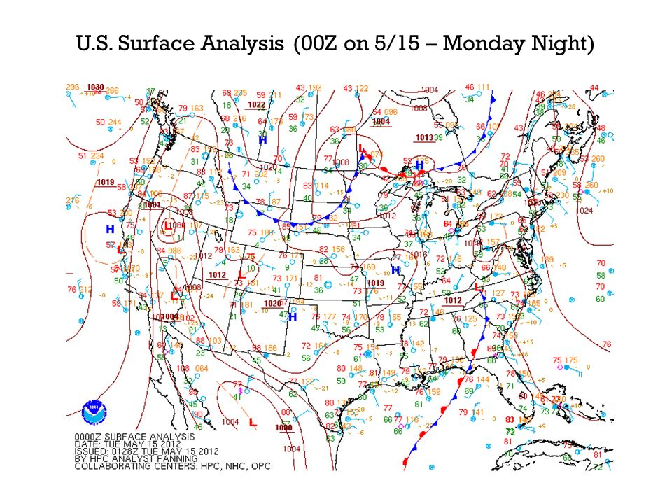 U.S. Surface Analysis (00Z on 5/15 – Monday Night)