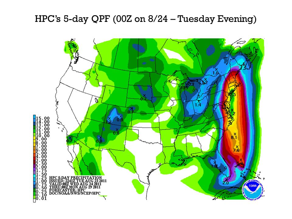 HPCs 5-day QPF (00Z on 8/24 – Tuesday Evening)