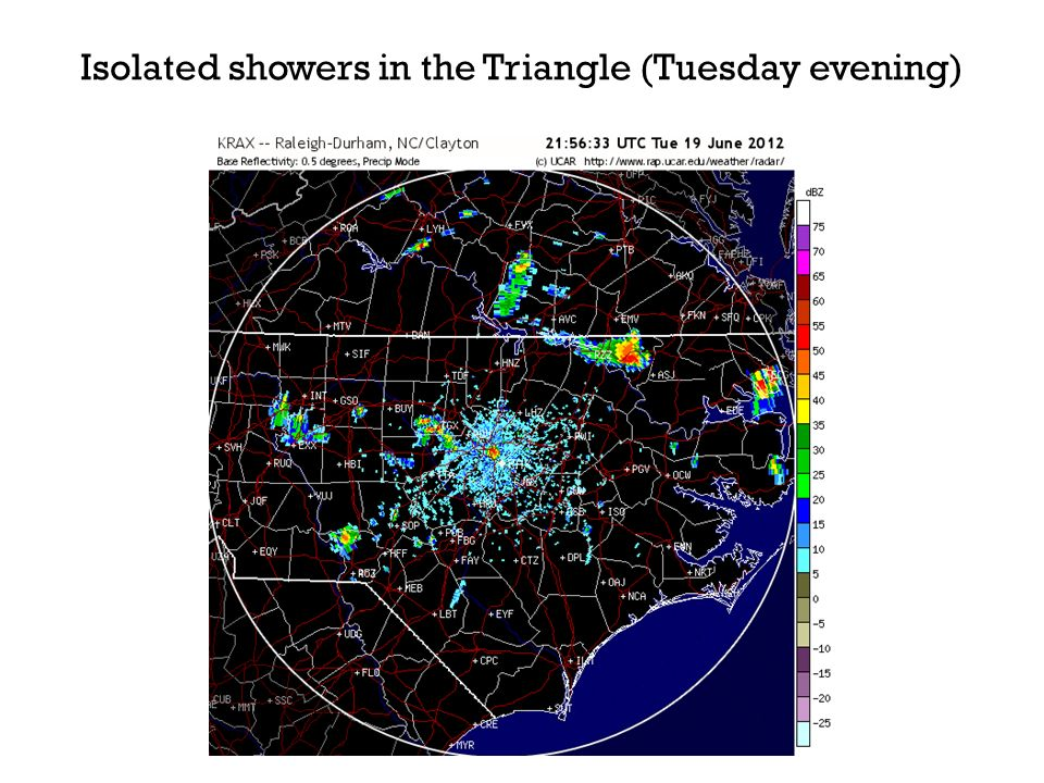 Isolated showers in the Triangle (Tuesday evening)