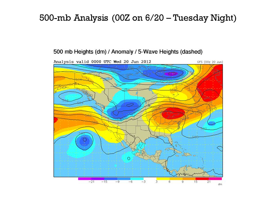 500-mb Analysis (00Z on 6/20 – Tuesday Night)