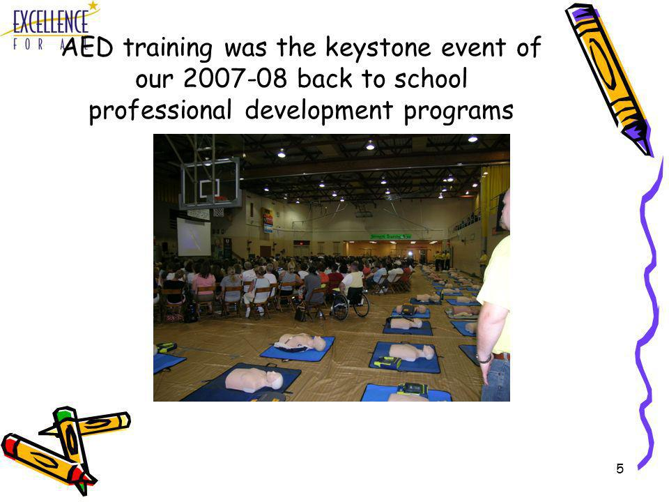 5 AED training was the keystone event of our 2007-08 back to school professional development programs