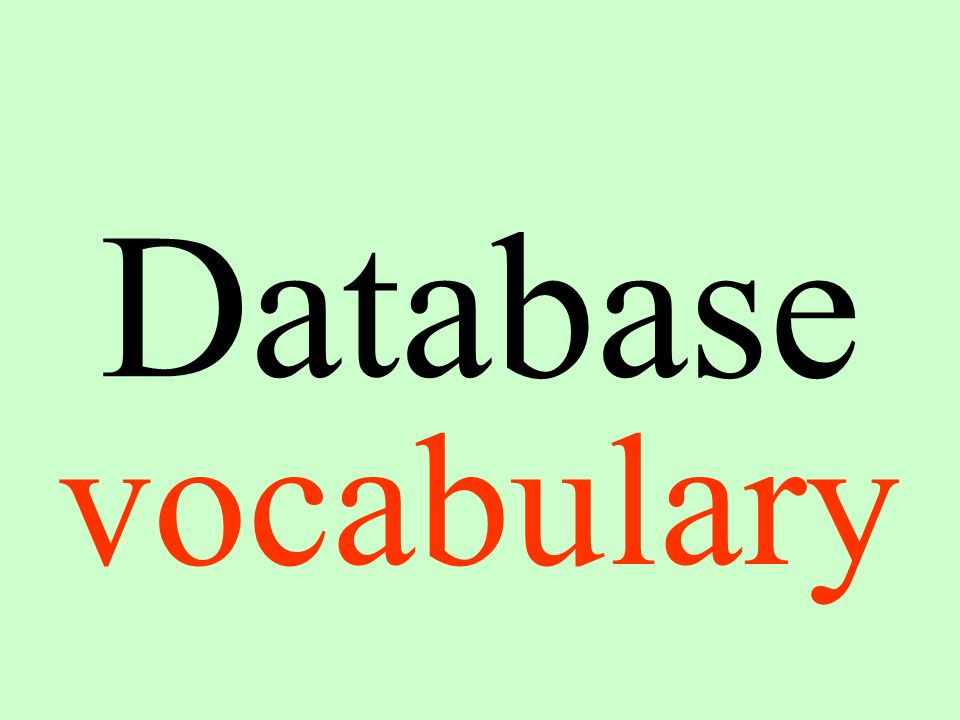 Database vocabulary