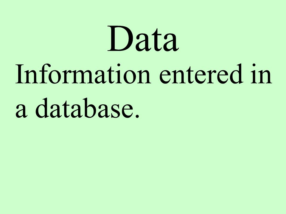 Data Information entered in a database.