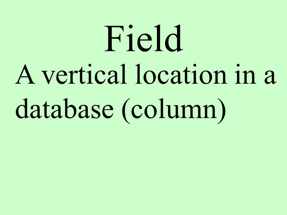 Field A vertical location in a database (column)