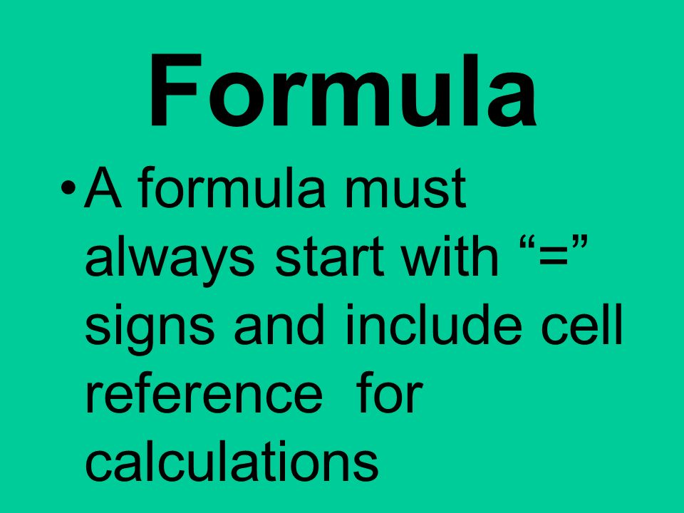 Formula A formula must always start with = signs and include cell reference for calculations