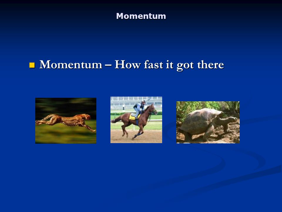 Momentum Momentum – How fast it got there Momentum – How fast it got there