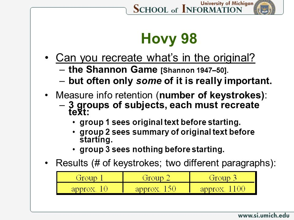 Can you recreate whats in the original. –the Shannon Game [Shannon 1947–50].