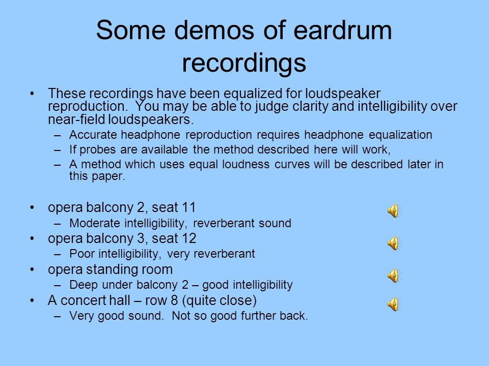 Some demos of eardrum recordings These recordings have been equalized for loudspeaker reproduction.
