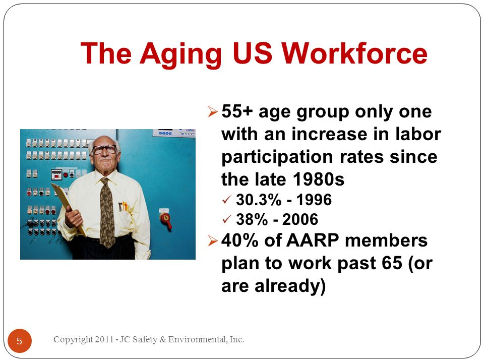 The Aging US Workforce 55+ age group only one with an increase in labor participation rates since the late 1980s 30.3% % % of AARP members plan to work past 65 (or are already) 5 Copyright JC Safety & Environmental, Inc.