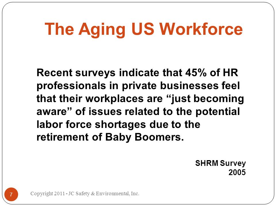 The Aging US Workforce Recent surveys indicate that 45% of HR professionals in private businesses feel that their workplaces are just becoming aware of issues related to the potential labor force shortages due to the retirement of Baby Boomers.