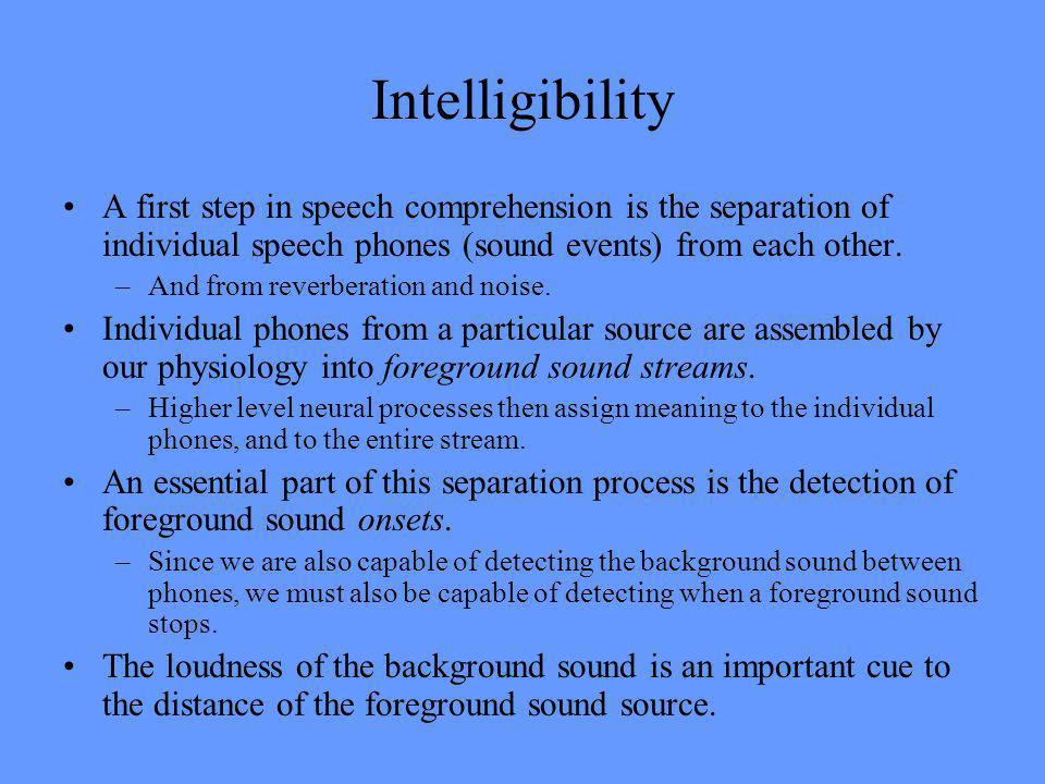 Intelligibility A first step in speech comprehension is the separation of individual speech phones (sound events) from each other.