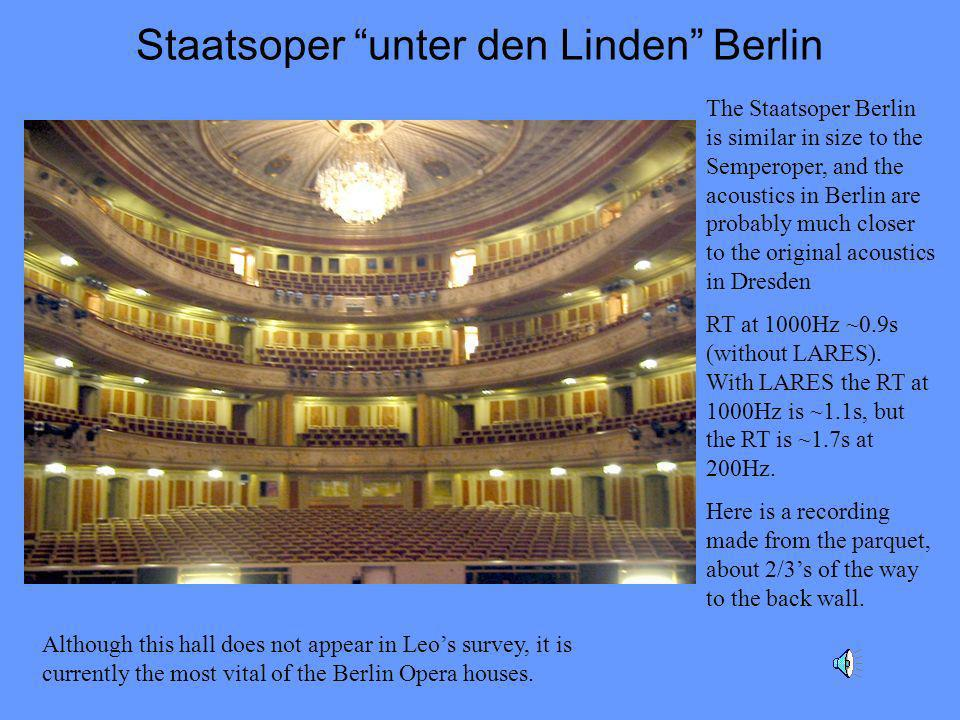 Staatsoper unter den Linden Berlin The Staatsoper Berlin is similar in size to the Semperoper, and the acoustics in Berlin are probably much closer to the original acoustics in Dresden RT at 1000Hz ~0.9s (without LARES).
