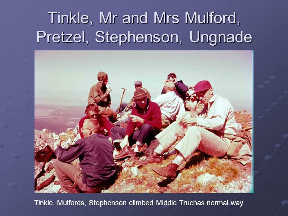 Tinkle, Mr and Mrs Mulford, Pretzel, Stephenson, Ungnade Tinkle, Mulfords, Stephenson climbed Middle Truchas normal way.