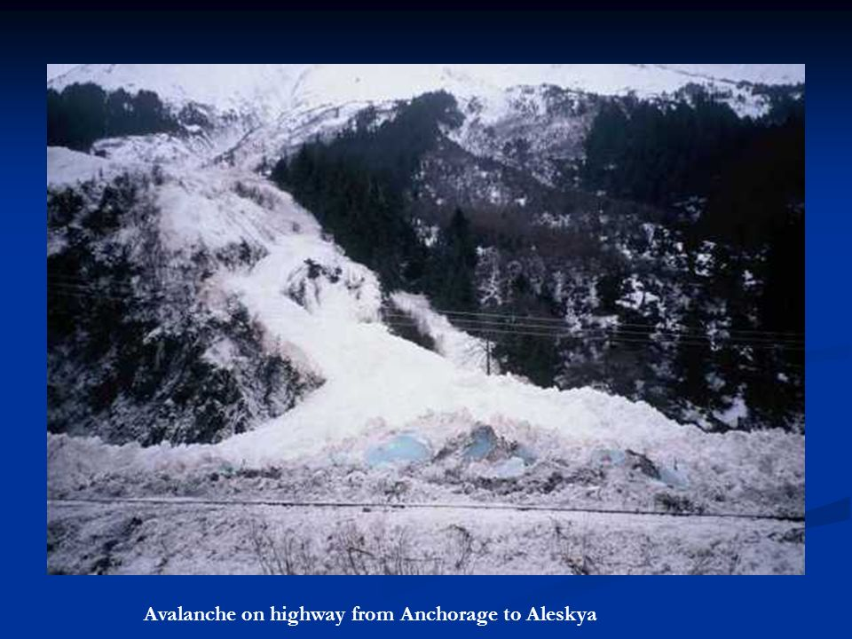 Avalanche on highway from Anchorage to Aleskya