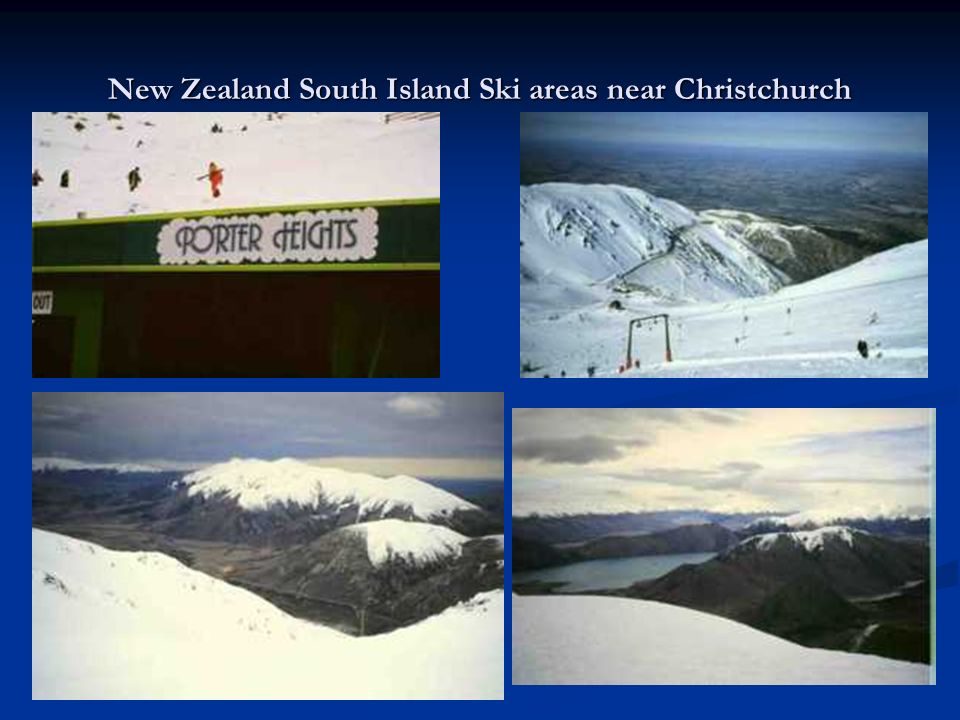 New Zealand South Island Ski areas near Christchurch