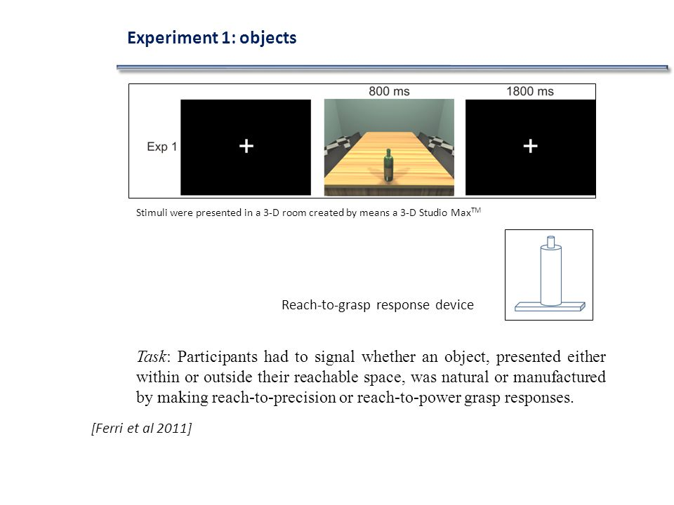 [Ferri et al 2011] Task: Participants had to signal whether an object, presented either within or outside their reachable space, was natural or manufactured by making reach-to-precision or reach-to-power grasp responses.
