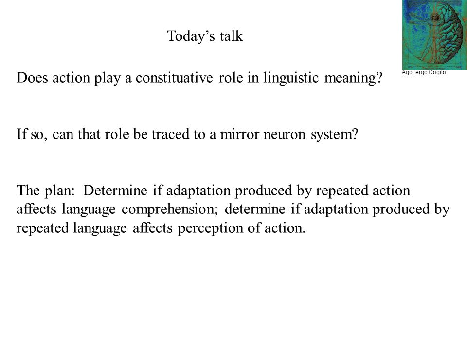 Ago, ergo Cogito Does action play a constituative role in linguistic meaning.