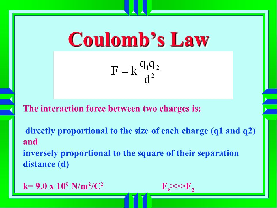 Coulombs Law The interaction force between two charges is: directly proportional to the size of each charge (q1 and q2) and inversely proportional to the square of their separation distance (d) k= 9.0 x 10 9 N/m 2 /C 2 F e >>>F g