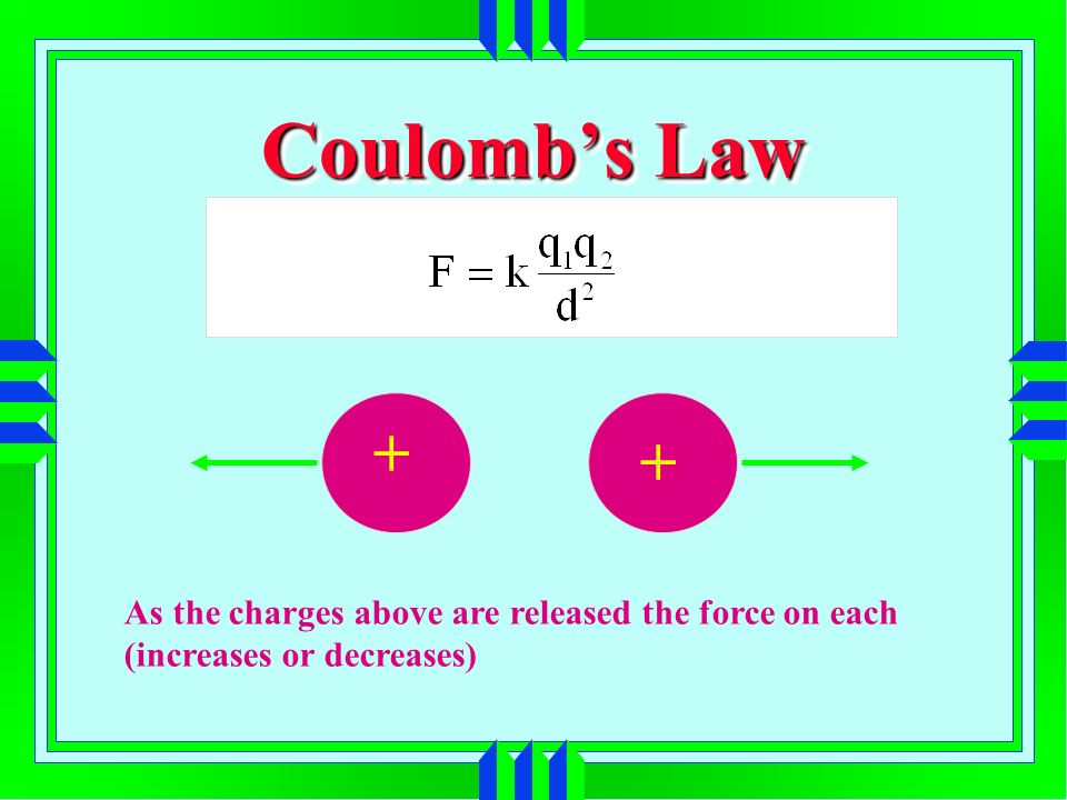 Coulombs Law As the charges above are released the force on each (increases or decreases) + +