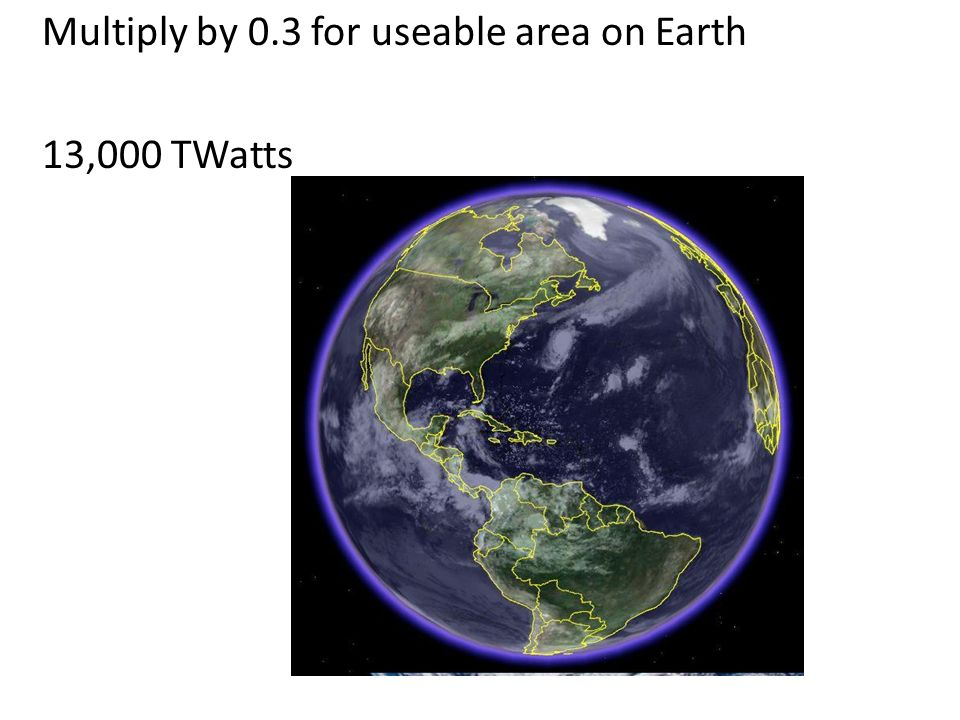 Multiply by 0.3 for useable area on Earth 13,000 TWatts