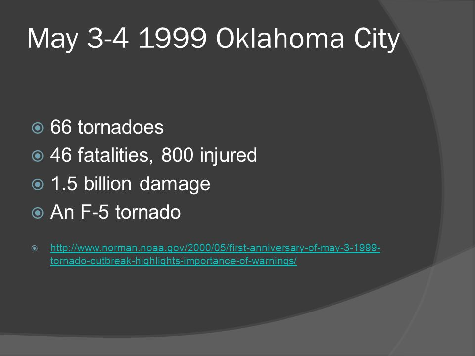 May Oklahoma City 66 tornadoes 46 fatalities, 800 injured 1.5 billion damage An F-5 tornado   tornado-outbreak-highlights-importance-of-warnings/   tornado-outbreak-highlights-importance-of-warnings/