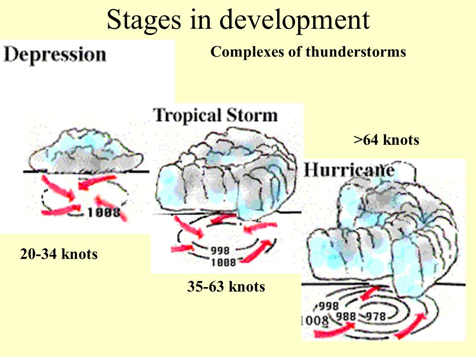 Stages in development knots >64 knots knots Complexes of thunderstorms