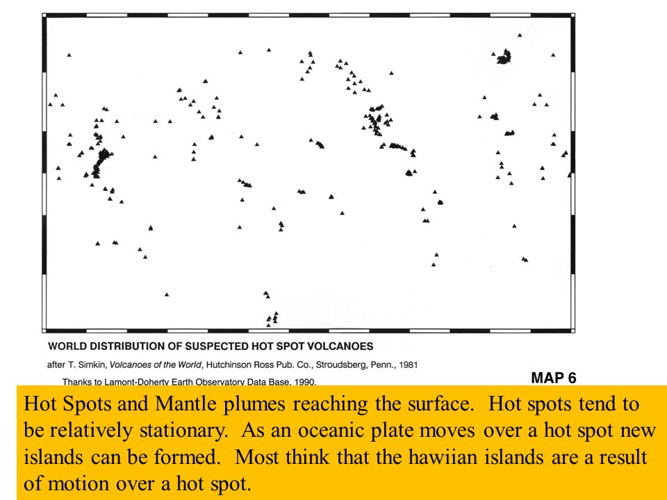 Hot Spots and Mantle plumes reaching the surface. Hot spots tend to be relatively stationary.