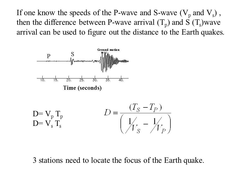 If one know the speeds of the P-wave and S-wave (V p and V s ), then the difference between P-wave arrival (T p ) and S (T s )wave arrival can be used to figure out the distance to the Earth quakes.