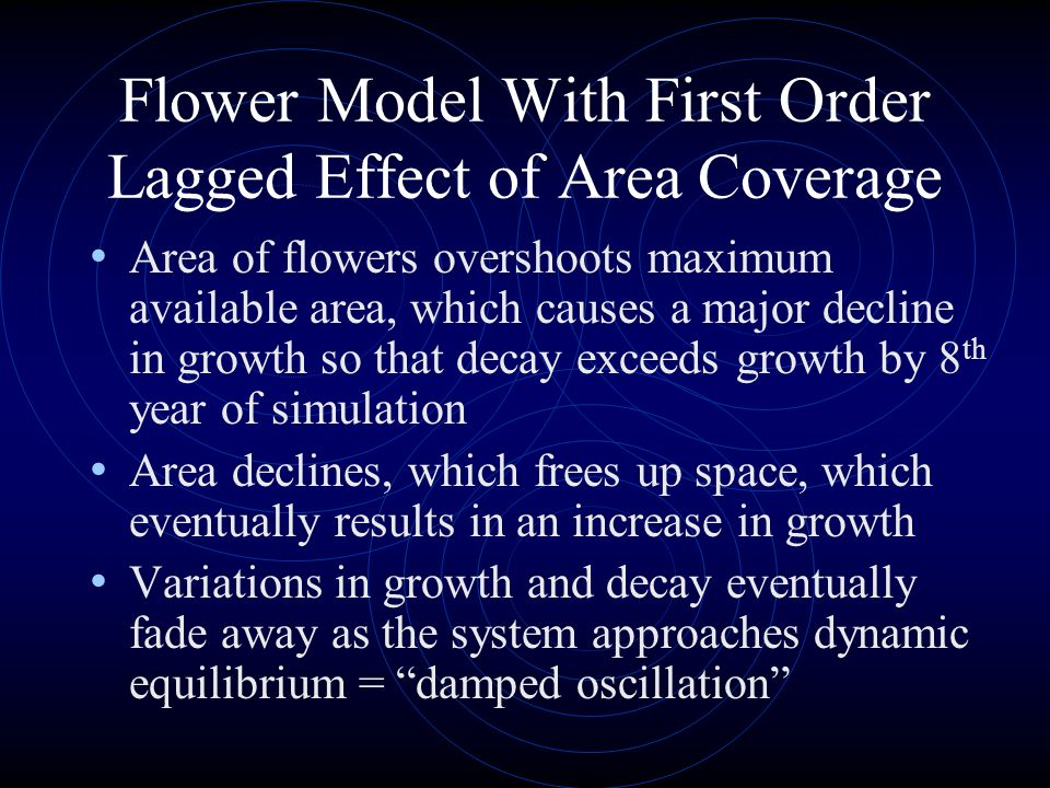 Area of flowers overshoots maximum available area, which causes a major decline in growth so that decay exceeds growth by 8 th year of simulation Area declines, which frees up space, which eventually results in an increase in growth Variations in growth and decay eventually fade away as the system approaches dynamic equilibrium = damped oscillation