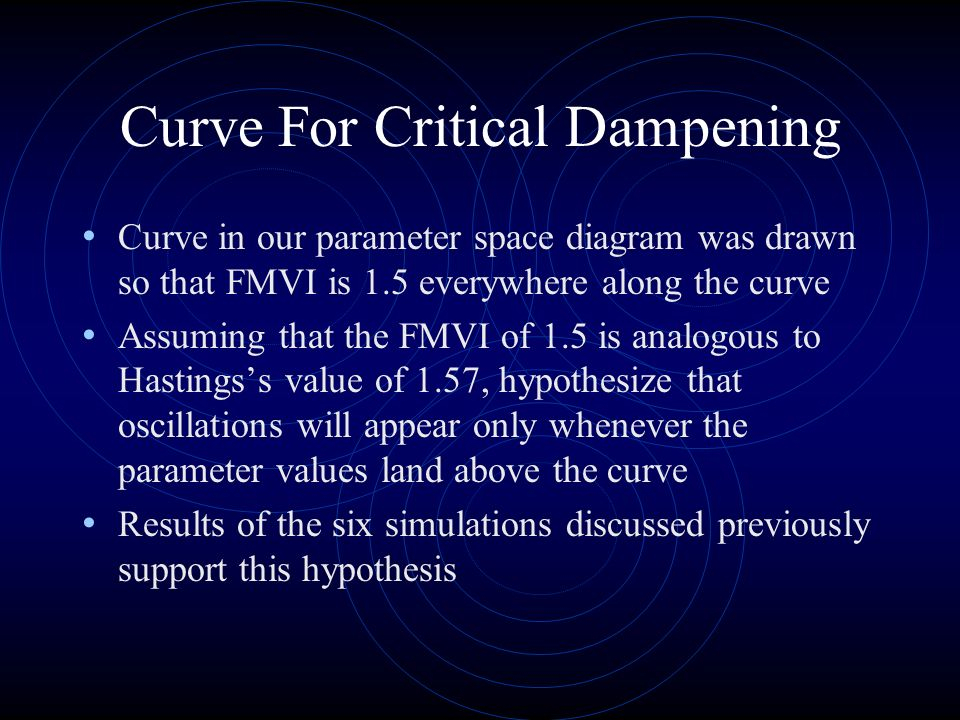 Curve For Critical Dampening Curve in our parameter space diagram was drawn so that FMVI is 1.5 everywhere along the curve Assuming that the FMVI of 1.5 is analogous to Hastingss value of 1.57, hypothesize that oscillations will appear only whenever the parameter values land above the curve Results of the six simulations discussed previously support this hypothesis