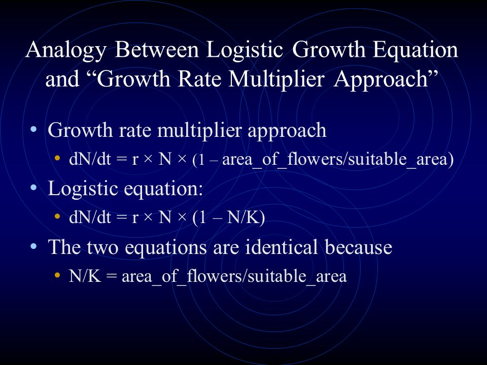 Analogy Between Logistic Growth Equation and Growth Rate Multiplier Approach Growth rate multiplier approach dN/dt = r × N × (1 – area_of_flowers/suitable_area) Logistic equation: dN/dt = r × N × (1 – N/K) The two equations are identical because N/K = area_of_flowers/suitable_area