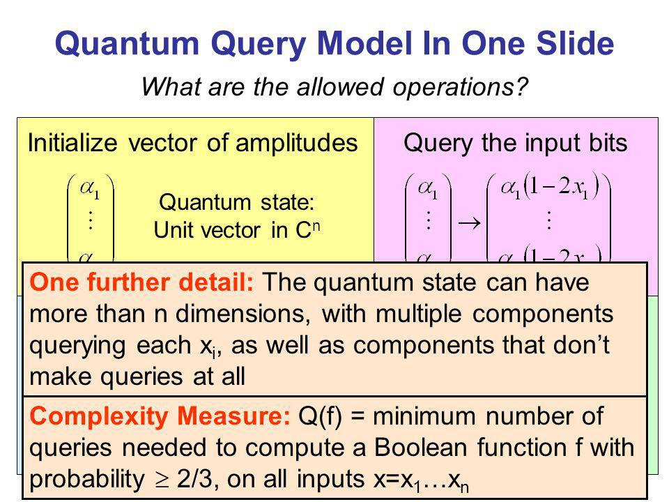 Quantum Query Model In One Slide Apply a unitary transformation What are the allowed operations.