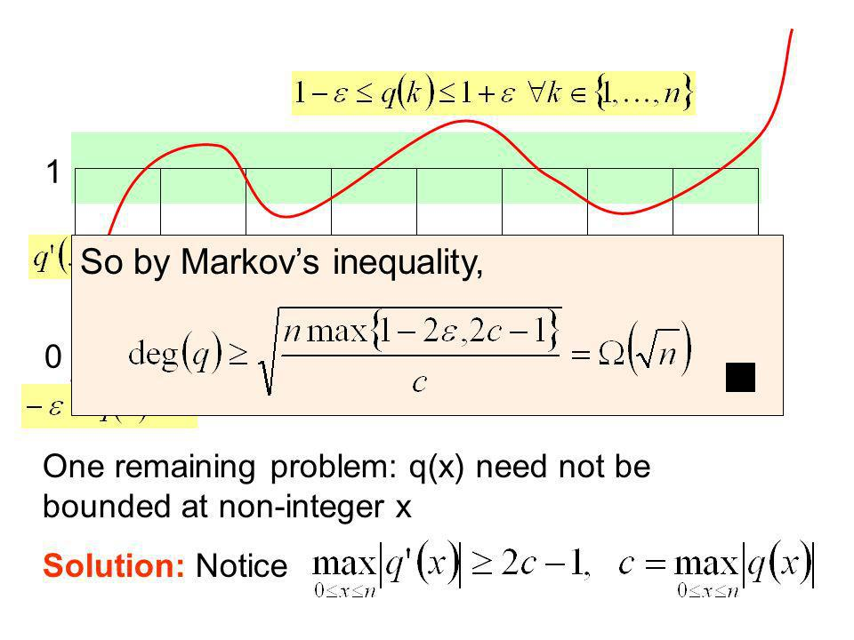 0 1 One remaining problem: q(x) need not be bounded at non-integer x Solution: Notice So by Markovs inequality,