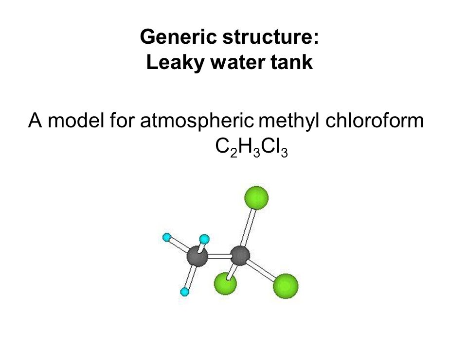 Generic structure: Leaky water tank A model for atmospheric methyl chloroform C 2 H 3 Cl 3