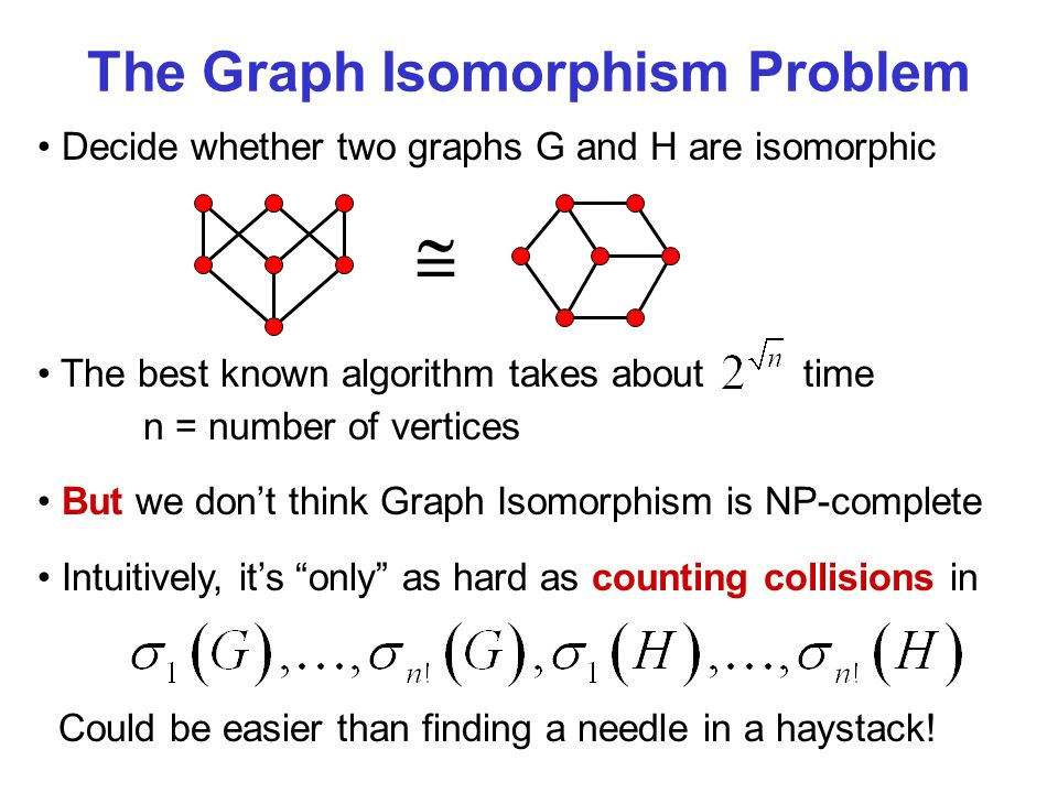 The Graph Isomorphism Problem Decide whether two graphs G and H are isomorphic The best known algorithm takes about time n = number of vertices But we dont think Graph Isomorphism is NP-complete Intuitively, its only as hard as counting collisions in Could be easier than finding a needle in a haystack!
