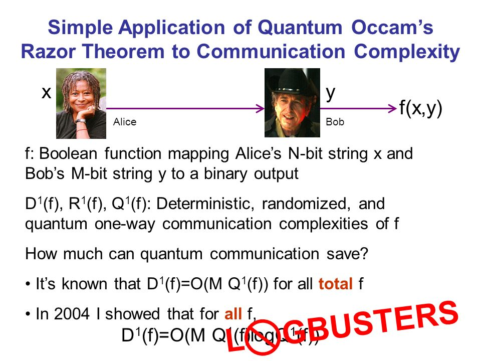 f(x,y) Simple Application of Quantum Occams Razor Theorem to Communication Complexity f: Boolean function mapping Alices N-bit string x and Bobs M-bit string y to a binary output D 1 (f), R 1 (f), Q 1 (f): Deterministic, randomized, and quantum one-way communication complexities of f How much can quantum communication save.