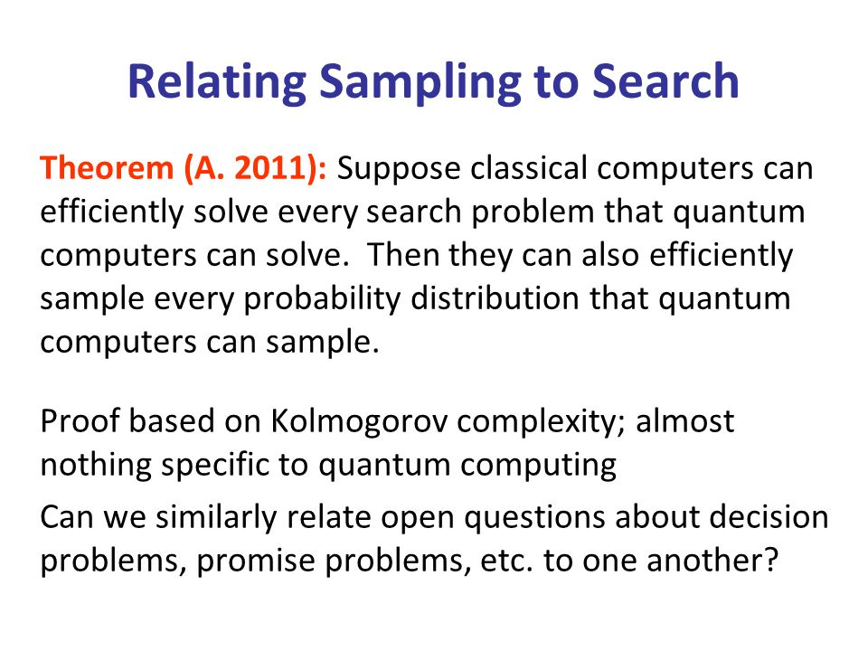 Relating Sampling to Search Theorem (A.