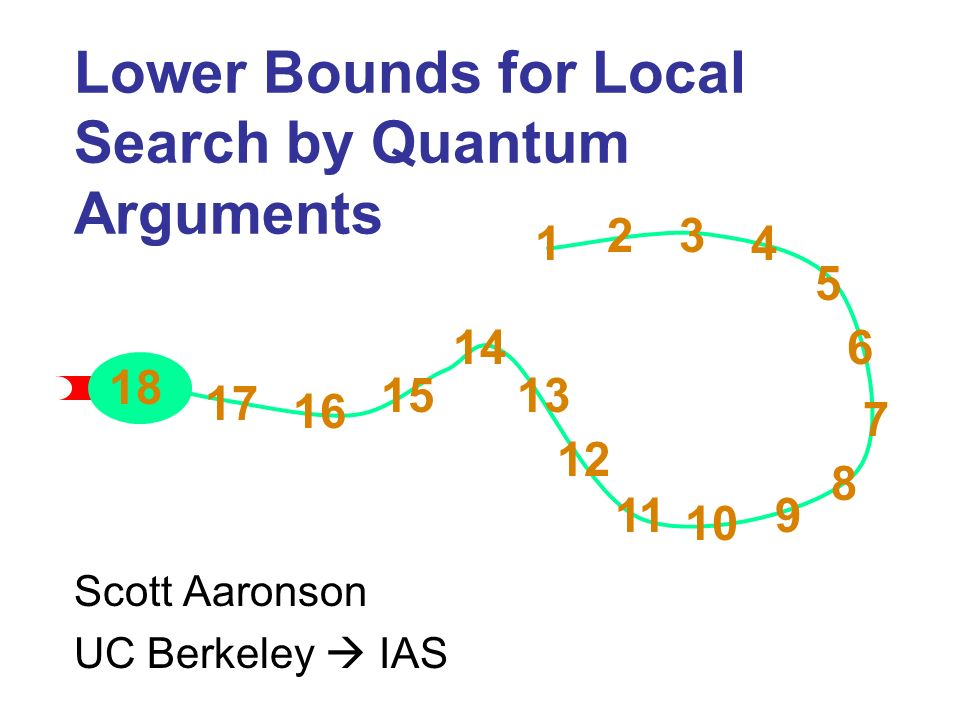 Lower Bounds for Local Search by Quantum Arguments Scott Aaronson UC Berkeley IAS