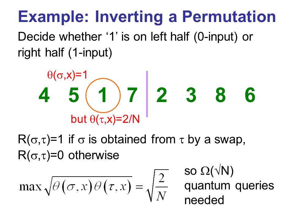 Example: Inverting a Permutation R(, )=1 if is obtained from by a swap, R(, )=0 otherwise but (,x)=2/N Decide whether 1 is on left half (0-input) or right half (1-input) so ( N) quantum queries needed (,x)=1