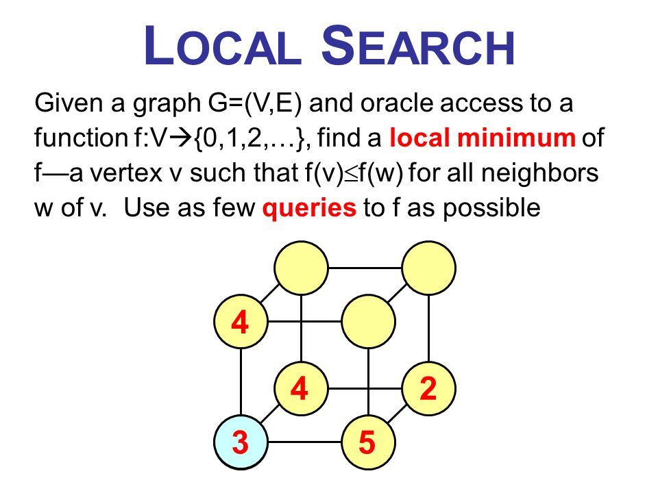 L OCAL S EARCH Given a graph G=(V,E) and oracle access to a function f:V {0,1,2,…}, find a local minimum of fa vertex v such that f(v) f(w) for all neighbors w of v.