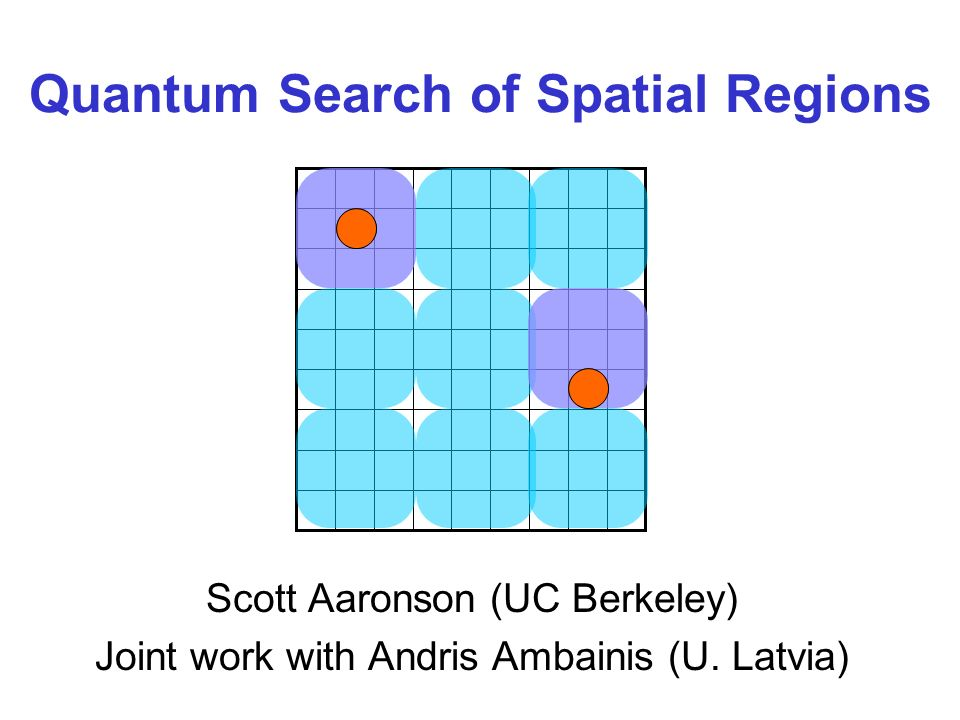 Quantum Search of Spatial Regions Scott Aaronson (UC Berkeley) Joint work with Andris Ambainis (U.
