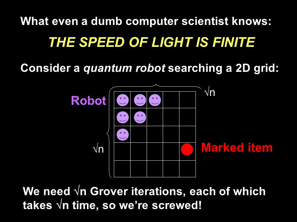 What even a dumb computer scientist knows: THE SPEED OF LIGHT IS FINITE Marked item Robot n n Consider a quantum robot searching a 2D grid: We need n Grover iterations, each of which takes n time, so were screwed!