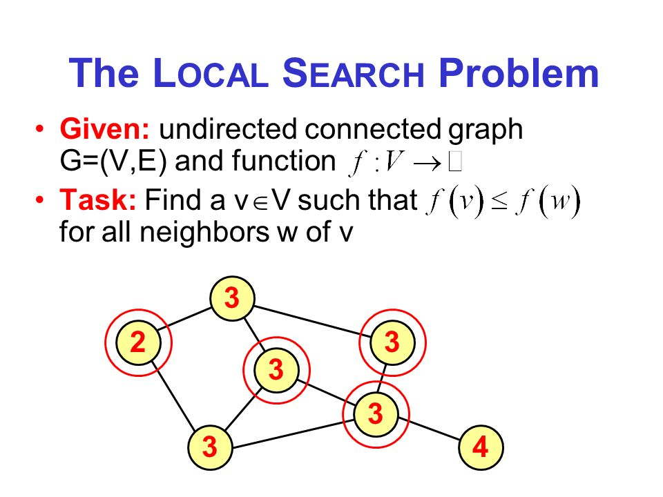 The L OCAL S EARCH Problem Given: undirected connected graph G=(V,E) and function Task: Find a v V such that for all neighbors w of v