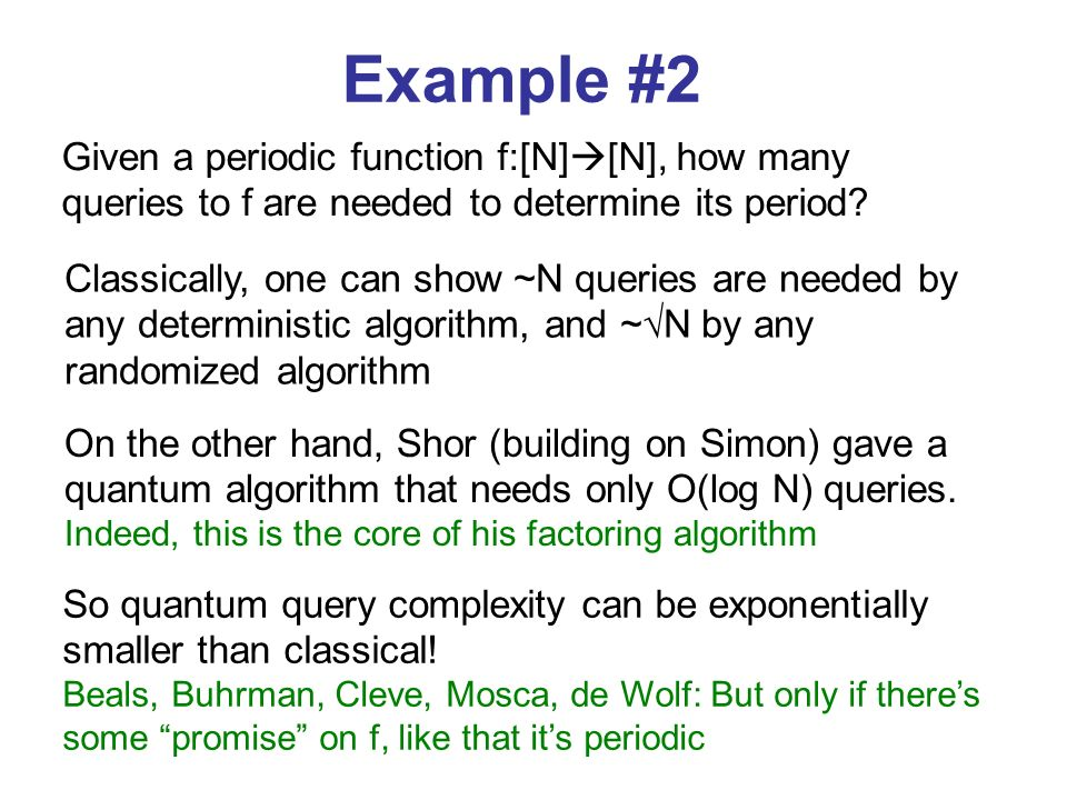 Given a periodic function f:[N] [N], how many queries to f are needed to determine its period.